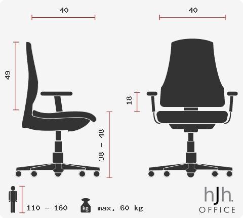 Cadeira Ergonómica KENY COM BRAÇOS, Almofada lombar, Para Criança, Preto e Vermelho
